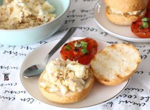 Tuna egg sandwich & grilled tomatoes