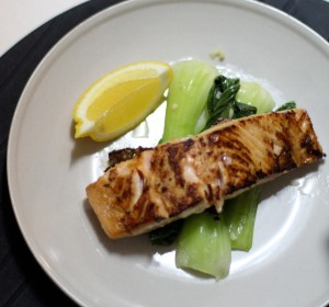 Pan-seared salmon with bok choy